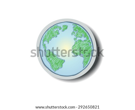 Earth icon on white background. Colorful world. Earth icon in doodles style