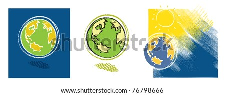 Earth icon - set of three - stock vector