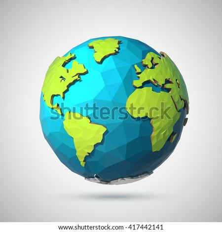 Earth illustration in Low poly style. Polygonal globe icon. Vector isolated