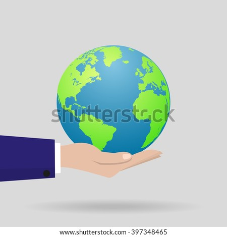 Earth  in a hand with a shadow. Vector illustration - stock vector