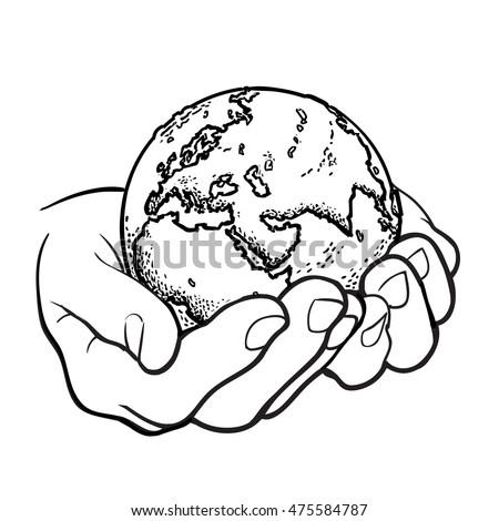 earth hands environment concept black white stock vector
