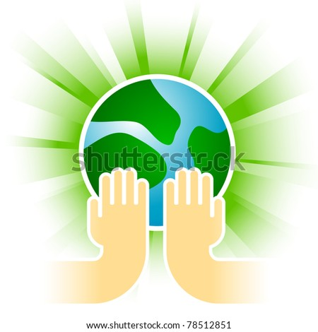 earth in hands on various color backgrounds