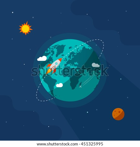 Earth in space vector illustration, rocket space ship flying around planet orbit on solar system universe, moon, starts flat cartoon design - stock vector