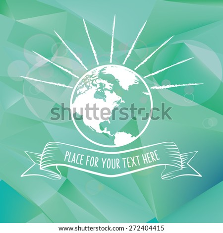 earth line symbol on polygonal background - stock vector