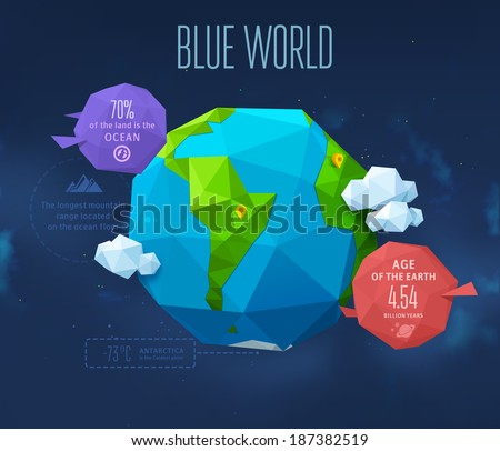 Earth. Low poly vector illustration - stock vector