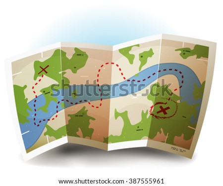 Earth Map Icon/ Illustration of a printed earth and treasure map icon with countries, river and legends, for game user interface and with grunge texture on paper sheet - stock vector