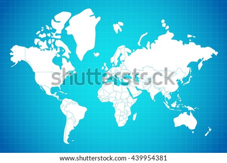 Earth map linear composition with country borders white on blue gradient background vector illustration - stock vector