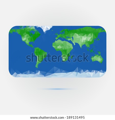 Earth map made with triangles - stock vector