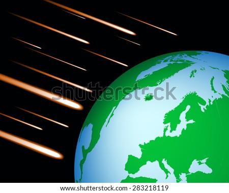 earth meteor  - stock vector