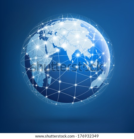 Earth of global networks - stock vector