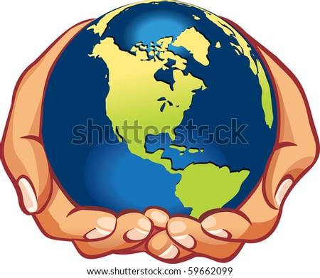 Earth on hands (vector illustration), We have all world - let's save the planet! - stock vector