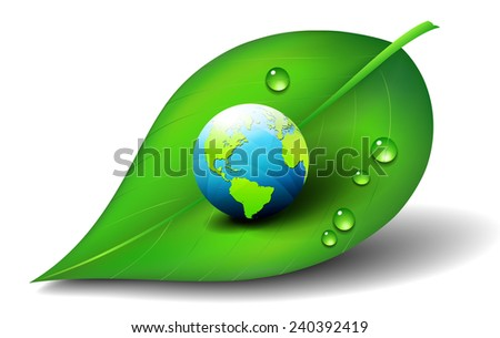 Earth on Leaf - stock vector