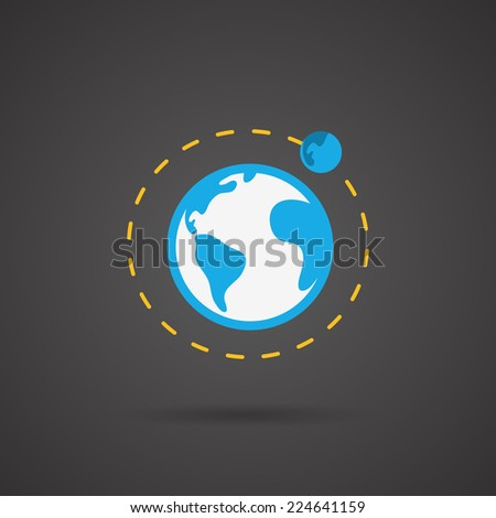 Earth orbit. Earth vector icon on black  background. - stock vector