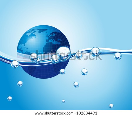 earth over water with waves and bubbles. vector illustration