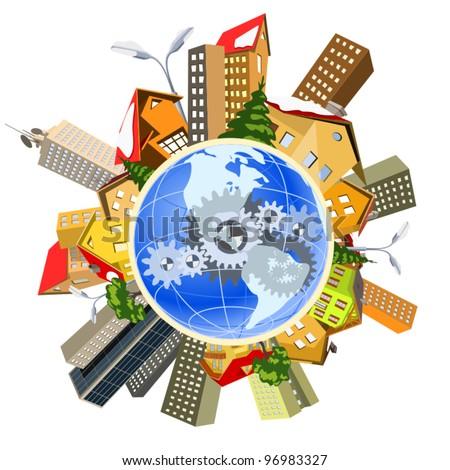 Earth perfect precise machine - stock vector