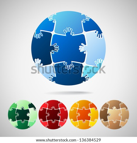 Earth Planet from puzzle pieces, vector illustration - stock vector
