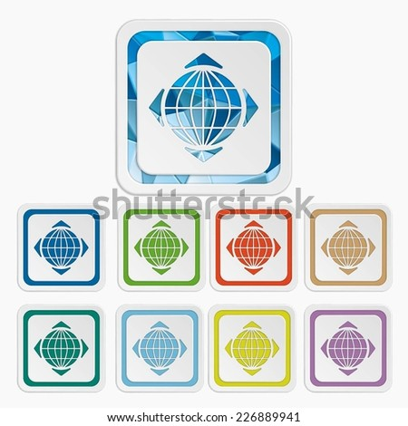 Earth / planet / globe icons. Navigator / GPS symbols. Set colorful buttons. Vector illustration. It can be used for the web sites and mobiles. - stock vector