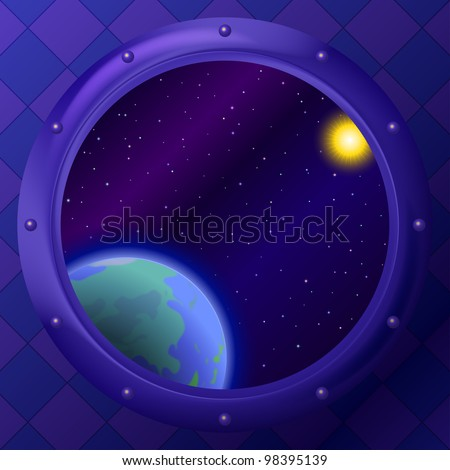 Earth planet, sun and stars in space ship window porthole, eps10, contains transparencies. Vector - stock vector