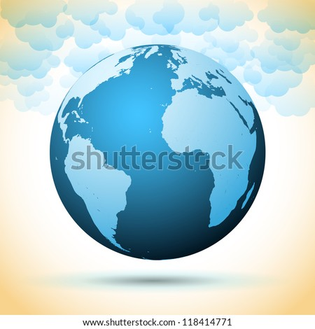Earth planet with clouds - vector symbol - stock vector