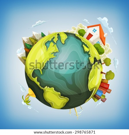 Earth Planet With Home, Nature And City Around/ Illustration of a cartoon design earth planet globe with environment elements around, house, mountains, windmills, cityscape and ocean - stock vector