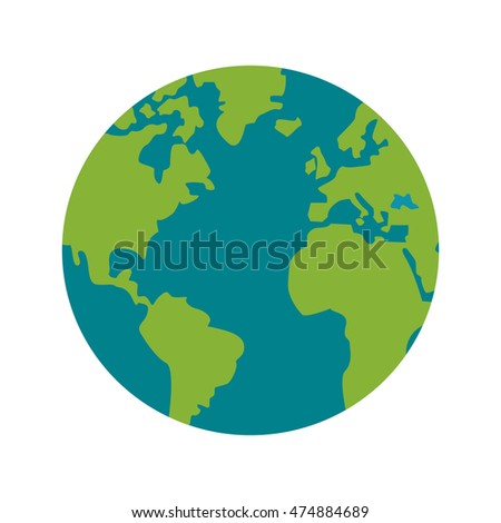 earth planet world sphere icon. Flat and Isolated design. Vector illustration