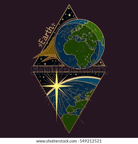 Earth Planets Stars Solar System Symbols Stock Vector 2018