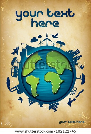 Earth Poster Template - suitable for posters, flyers, brochures, banners, badges, labels, wallpapers, web design, advertising, publicity or any branding. - stock vector