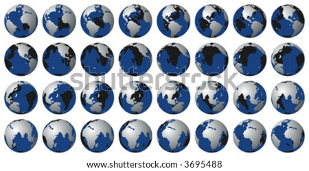 Earth rotation vector. Can be used to animate. - stock vector