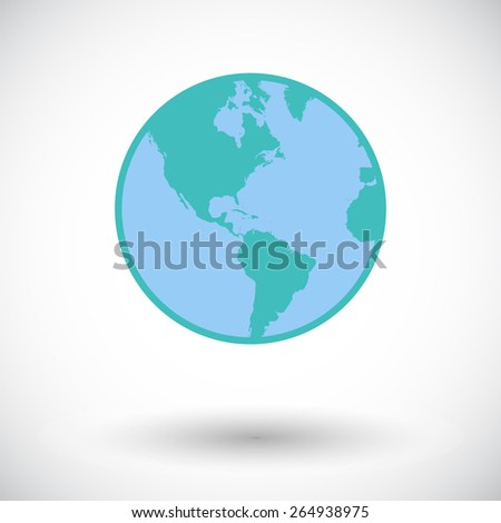Earth. Single flat icon on white background. Vector illustration. - stock vector