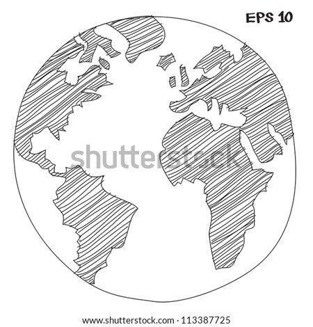 earth sketch - stock vector
