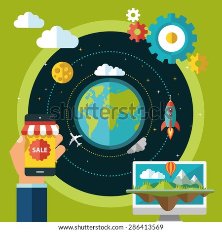 Earth space and some technological elements - stock vector