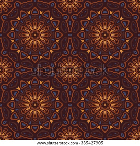 Earth Toned Oriental Inspired Seamless Pattern Vector Illustration - stock vector