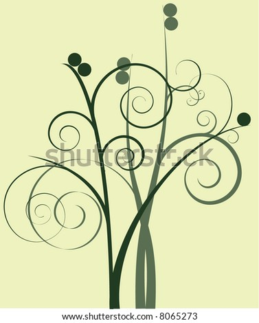 Earth-toned Spiral Floral - stock vector