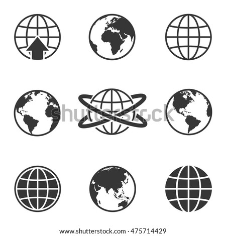 Earth vector icons set. Map