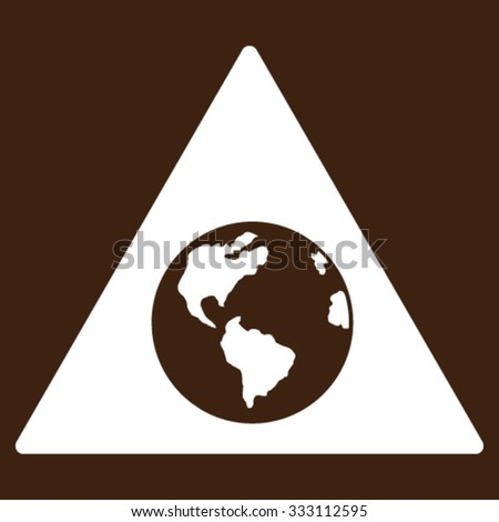 Earth Warning vector icon. Style is flat symbol, white color, rounded angles, brown background.