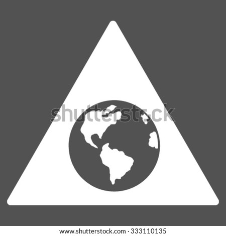 Earth Warning vector icon. Style is flat symbol, white color, rounded angles, gray background.