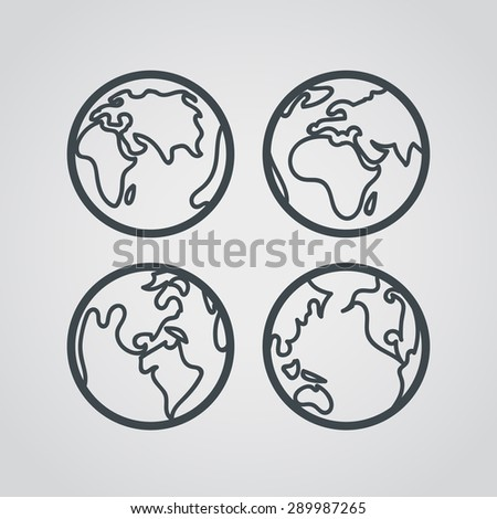 Earth web icons collection. Round lineart design pictograms - stock vector