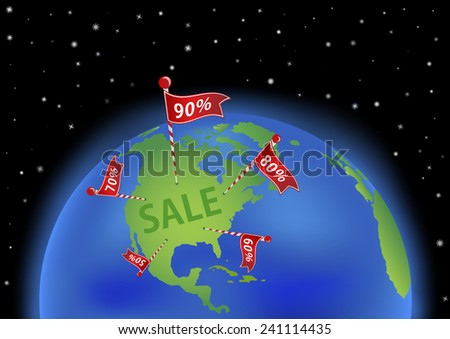 Earth wit Continent North America and banners with percent of discount. All objects are placed on separate and named layers.  - stock vector