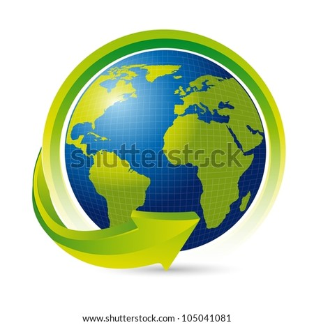earth with arrow over white background. vector illustration