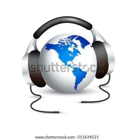 Earth with headphones - stock vector