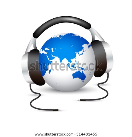 Earth with headphones showing Asia - stock vector