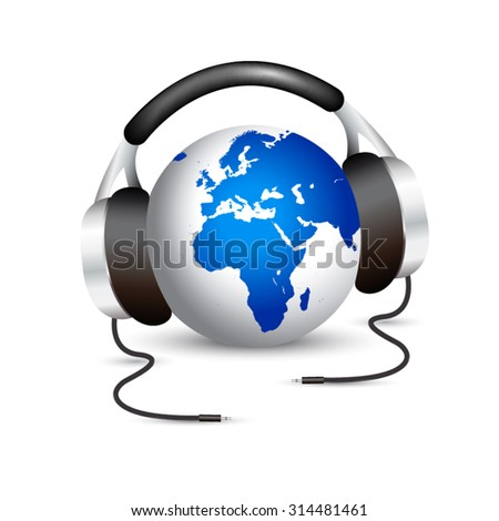 Earth with headphones showing Europe and Africa continents - stock vector
