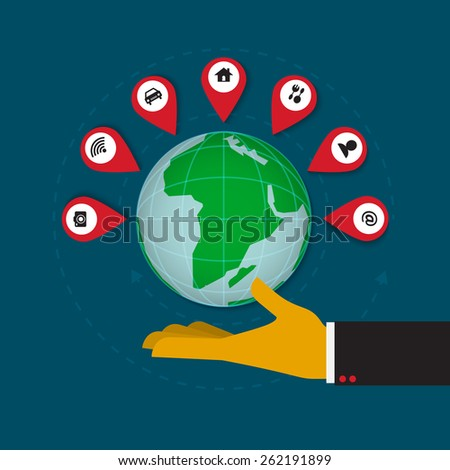 Earth with location marker in human hand vector - stock vector