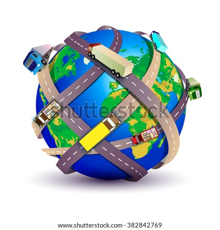Earth with many roads and trucks on the white background - stock vector