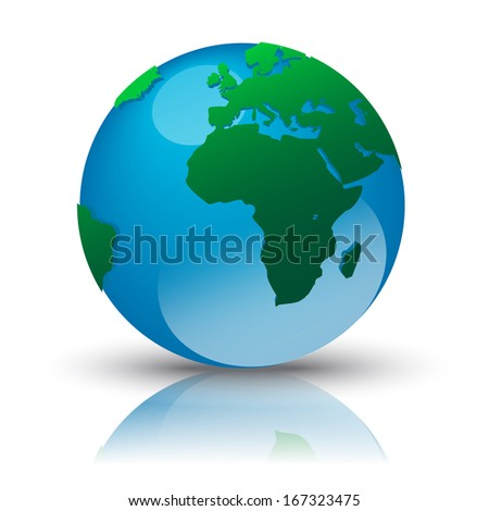 earth with reflection - vector illustration - stock vector