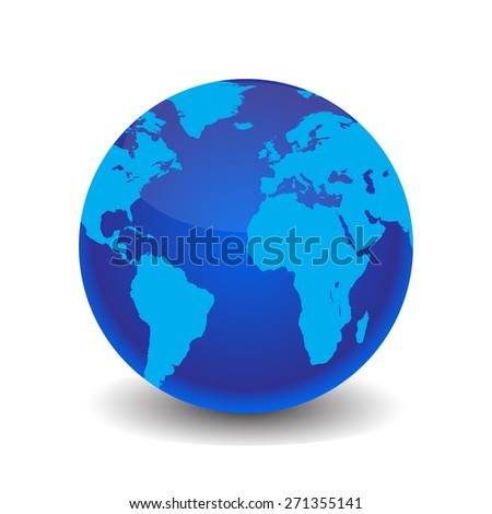 Earth with shadow vector illustration stylish - stock vector