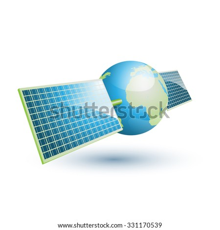 Earth with solar panels - stock vector