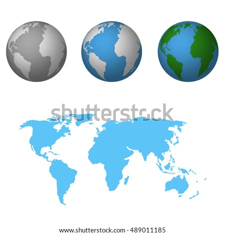 Earth with world map Flat Icon Vector Illustration