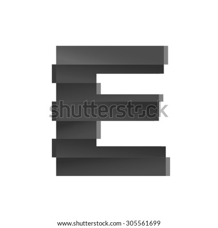 Earthquake font, letter E - stock vector