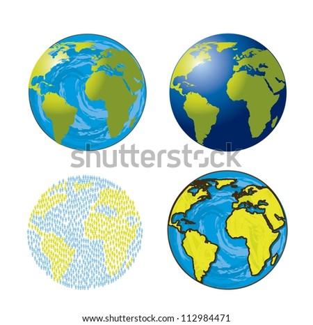 earths isolated over white background. vector illustration